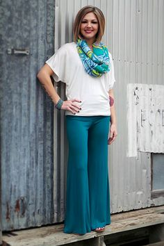 """Get the complete look! Pictured is our """"Essential"""" top, our """"Abstract"""" infinity scarf  the """"Plain Jane"""" Palazzo pants in Emerald. Total outfit = $56 