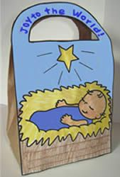 He's Here! Supplies print out and brown paper bag. New! Baby Jesus Nativity Gift Bag craft for young children