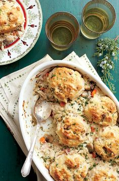 Chicken-and-Biscuit Cobbler - The Best Recipes of 2014 - Southernliving. This family-friendly dish is sure to become a new holiday staple. Use fresh herbs in the cobbler.Recipe: Chicken-and-Biscuit Cobbler Ham And Noodle Casserole, Chicken Casserole, Casserole Recipes, Martha Stewart, Chicken And Biscuits, Easy Chicken Recipes, Easy Recipes, Recipe Chicken, Top Recipes