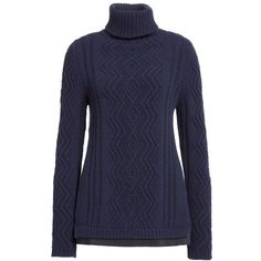 Women's Moncler Braid Knit Wool & Cashmere Turtleneck Sweater (4.915 HRK) ❤ liked on Polyvore featuring tops, sweaters, layered sweater, cable knit sweater, cashmere sweater, turtleneck sweater and turtle neck sweater