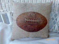 Football Pillows - Burlap pillows - Vintage sports pillows - Boys room decor - baby boys nursery pillows - Football decor - gift for him by JulieButlerCreations on Etsy https://www.etsy.com/listing/285390885/football-pillows-burlap-pillows-vintage