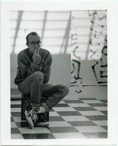 Keith Haring, Photo, Lenore Seroka/Courtesy of the Estate of Keith Haring. Jm Basquiat, Jean Michel Basquiat, Keith Allen, Walt Disney, Keith Haring Art, Street Culture, Portraits, Arte Pop, Black N White Images