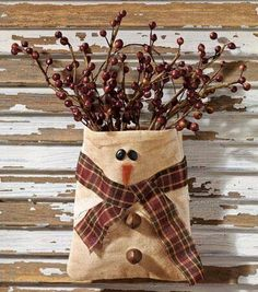 Image for Snowman Bag Snowman Decorations, Snowman Crafts, Christmas Projects, Holiday Crafts, Christmas Decorations, Christmas Ideas, Prim Christmas, Christmas Sewing, Winter Christmas