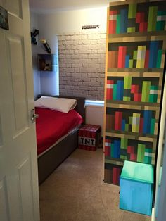 Kids Bedroom On Minecraft keeping it simple: minecraft boy's room décor idea: large wood