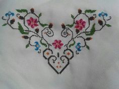 "Kolay mass ""Discover thousands of images about Kòse çi eklerc"" Cross Stitch Rose, Cross Stitch Borders, Cross Stitch Flowers, Cross Stitch Charts, Cross Stitch Designs, Cross Stitching, Cross Stitch Patterns, Embroidery Hearts, Ribbon Embroidery"