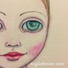 Art journaling in bed.  #aussieartist #mixedmediaartist #mixedmedia #kyliefowler #luluart #whimsical #illustration #artist #artjournaling #artjournal #bigeyedgirl #green #eyes #girl #young #illustration #drawing #painting #big #eyes