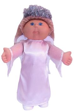 We all think our little girls are the 'perfect angels' most of the time.  Now with this gorgeous, easy to make Angel Costume, your 18 1/2 inch Cabbage Patch Kids doll can become an Angel too and join in all the fun of Halloween. Pattern includes the flowing Angel Dress, beautiful feather Angel Wings, instructions for making the glittery Halo and of course my awesome step-by-step video tutorials.