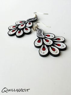 Peacock quilled earrings