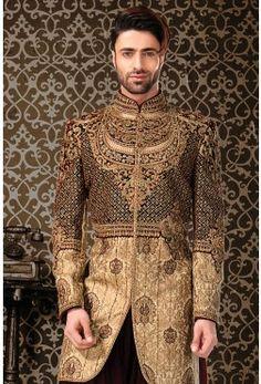 IndoWestern Sherwani-Gold-Zardosi Work-IW749
