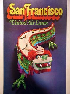 San Francisco - United Airlines vintage travel poster with Chinese New Year Dragon