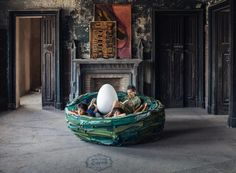 "Lounging around in a giant nest might sound like something out of a fairy tale, but thanks to this eclectic design by Italian artist Gianni Ruffi, it can be reality. Italy-based Gufram just released this surreal, human-size nest called La Cova. Complete with two ""egg"" pillows, it isn't just a piece of furniture, but a piece of art that lets you get away from it all."