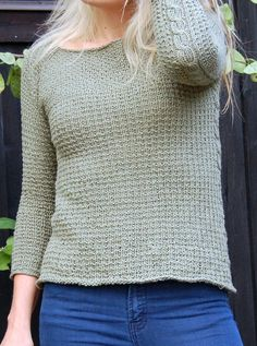 Free Knitting Pattern for Miss Honeychurch Pullover Sweater - This pullover is worked in one piece from the top down and features textured stitches, unexpected side cables, three-quarter-length sleeves, and a flattering A-line shape. Designed by Cheryl Niamath. XS [S, M, L, 1X, 2X, 3X] Pictured project by Twiddle