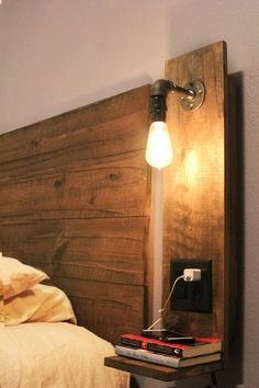 DIY - Floating Nightstand idea. The only way I'll be able to fit a King Bed in my bedroom. LOVE THIS!    space saver. rustic. industrial. pipe. Edison style bulb. power outlets