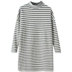 Blackfive High Neck Fleeced Md-long Loose Stripe Sweatshirt (2.775 RUB) ❤ liked on Polyvore featuring tops, hoodies, sweatshirts, dresses, sweaters, shirts, white top, fleece sweatshirt, high neck shirts and stripe shirt