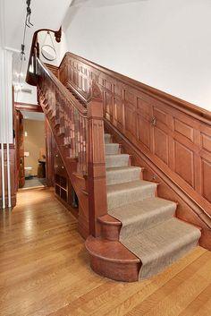 Old World, Gothic, and Victorian Interior Design: Victorian Gothic interior style Brownstone Interiors, Townhouse, Brooklyn Brownstone, Brooklyn Park, Gothic House, Victorian Houses, Victorian Gothic, Rustic Stairs, Gothic Interior