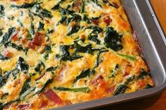 Kale & Onion Egg Bake  Pinner says: used creamy Swiss and provolone mixture. also added 8 ozs of sliced mushrooms & a fresh tomato