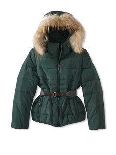 Monnalisa Girl's Down Jacket,  Warm quilted down jacket with a detachable faux fur trimmed hood, zip closure, belted waist and elasticized trim - I want one!