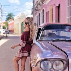Old Cars & Pretty Walls discovering the city of Remédios wearing @tularosalabel @revolve photo by @tobruckave #AFLATravel #Cuba #revolveme
