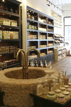 when you visit nyc.you must go to sabon for a hand treatment. they have super cool washing stations and let you test out all their amazing products. One of my favorite body shops Tienda Natural, Soap Display, Display Cases, Visiting Nyc, Soap Shop, Soap Packaging, The Design Files, Medan, Store Displays