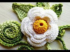 Croche FLOR ROSA BRANCA 070 ✿⊱╮Teresa Restegui http://www.pinterest.com/teretegui/✿⊱╮