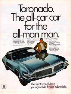 1968 Oldsmobile Toronado Ad GM 2 Door by Vintage Advertisements, Vintage Ads, Oldsmobile Toronado, Ad Car, Car Advertising, Retro Cars, Marketing, Cars Motorcycles, Cool Cars