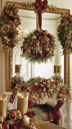 Awesome Silver and Gold Christmas Decorations on a Budget Silver Christmas Decorations, Christmas Greenery, Christmas Fireplace, Christmas Mantels, Noel Christmas, Christmas Centerpieces, Christmas Wreaths, Holiday Decor, Christmas Villages