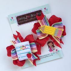Back to School Pigtail Bows – Pencil N Paper – sweet piggies set with red ruffle and rainbow ribbons – perfect for kindergarten or preschool - All For Simple Hair Little Girl Hairstyles, Hairstyles For School, School Applique Shirts, Disney Hair Bows, Rainbow Ribbon, Baby Hair Accessories, Shops, Pencil And Paper, Boutique Hair Bows