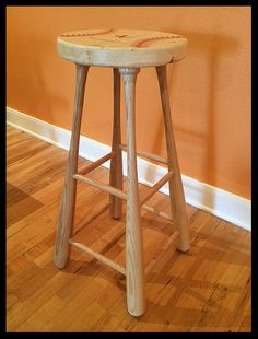 Baseball bats repurposed as bar stool legs Baseball Furniture, Baseball Chair, Baseball Crafts, Baseball Stuff, Baseball Photos, Repurposed Furniture, Handmade Furniture, Wood Projects, Bar Stools