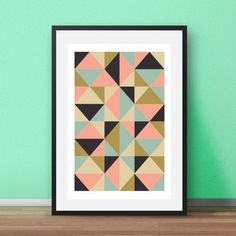 Geometric Wall Art. Geometric Triangle print in pink, blue, gold, and grey. Nordic style. Simple, modern and eyecatching, this print will add a Scandi finish to any room. Available in other colours in my store.  Most of my prints are now available for you to print at home in my other shop here: www.etsy.com/uk/shop/NordicDesignHouseCo  MY PRINTS  All of my prints are designed inhouse so if you require a different colour or alteration please just send me a convo and I will be more than happy…