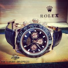 Rolex Daytona rose gold with black genuine leather.