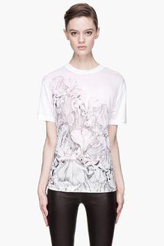 MCQ Alexander McQueen Heather white floral pencil sketch Boyfriend T-Shirt