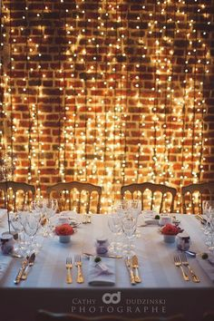 """If I ever had a """"formal"""" dinner, and had a clean wall. If I ever had a """"formal"""" dinner, and had a clean wall…that is completely a cool factor to do! 🙂 So elegant…and are available on, who doesn& like lights? Outdoor Dinner Parties, Formal Dinner, Light Decorations, Wedding Decorations, Dinner Party Decorations, Poster Design, Lesbian Wedding, Birthday Dinners, Wedding Trends"""