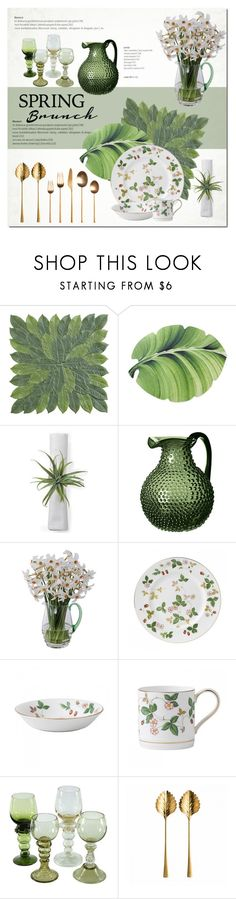 """""""Spring Brunch"""" by cruzeirodotejo ❤ liked on Polyvore featuring interior, interiors, interior design, home, home decor, interior decorating, Pier 1 Imports, OKA, Dartington Crystal and Wedgwood"""