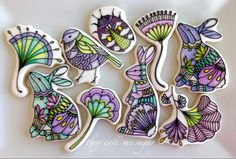 Easter/Spring - fanciful rabbits, gingko leaves, bird, beetle - all hand painted stunning beauties by Susan Hennes, posted at Cookie Connection