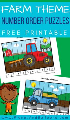 Free printable puzzles for farm theme in preschool! Fun number order activities for numbers and puzzles for kids preschool Farm Animals Preschool, Preschool Puzzles, Numbers Preschool, Counting Puzzles, Preschool Farm Theme, Number Puzzles, Learning Numbers, Preschool Crafts, Fun Learning