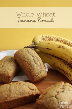 Whole Wheat Banana Bread, use up those overripe bananas with this simple and delicious recipe! HandmadeintheHeartland.com