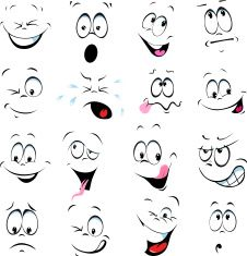 illustration of cartoon faces on a white background vector art illustration