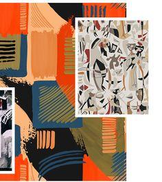 Autumn/Winter 21/22 Print Trend - Abstract Layers - Patternbank Textile Patterns, Textile Prints, Print Patterns, Pattern Bank, Fashion Design Portfolio, Fashion Painting, Winter Trends, Abstract Pattern, Color Trends