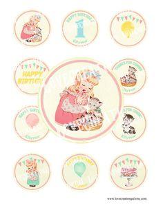 Digital PRINTABLE Vintage Birthday Tea Party Girl Kitty Daughter Children Nursery Cupcake Cake Topper Circle Label Tags Sheet Images Sh293. $5.00, via Etsy.