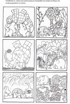 Elmer by David McKee coloring pages Sequencing Pictures, Story Sequencing, English Activities, Book Activities, Preschool Curriculum, Kindergarten, Elmer The Elephants, English Book, Book Week