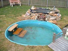 Dog Pond,New pic's - Ponds & Aquatic Plants Forum - GardenWeb Dog Friendly Backyard, Dog Pond, Pool Diy, Diy Dog Kennel, Dog Kennels, Dog Playground, Duck House, Backyard Water Feature, Kiddie Pool