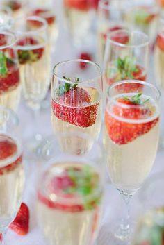 Champagne and strawberry post-ceremony toast