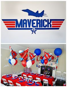 "When you name your son Maverick, you need to throw him a ""Top Gun"" party. So we did just that and had a ""Top Gun"" birthday party. Air Force Birthday, Planes Birthday, Planes Party, Airplane Party, Camo Birthday, Birthday Stuff, Birthday Party Treats, Boy Birthday Parties, Boys 2nd Birthday Party Ideas"