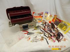 FLAMBEAU-TACKLE-BOX-FULL-NUMEROUS-FISHING-ITEMS-PREVIOUSLY-OWNED & USED-AS-IS #FLAMBEAU