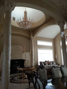 Ornamental Ceiling, Columns and Fireplace | Modern Masters Bellezza Series  | Project by T Decorative Painting