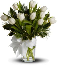 Tulip and Pine Arrangement Click> http://www.teleflora.com/christmas/wreaths-trees-flowers-baskets-85517_85518c.asp?srccode=AF_LS_AFNT_ED13&siteID=Oe6zpvdRZE8-jb6VeSJim_N85szDbm29Ng