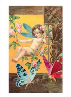 Vintage Fairy and Butterflies Trade Card ~ PAPIROLAS COLORIDAS