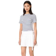 Sea T-Shirt Pleated Combo Dress (12,405 INR) ❤ liked on Polyvore featuring sea, new york, white jersey, cotton jersey and striped jersey