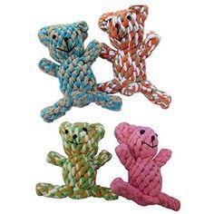 Motif tressé–Ours Jouets en corde pour chien chiot chat jouet à mâcher couleur aléatoire