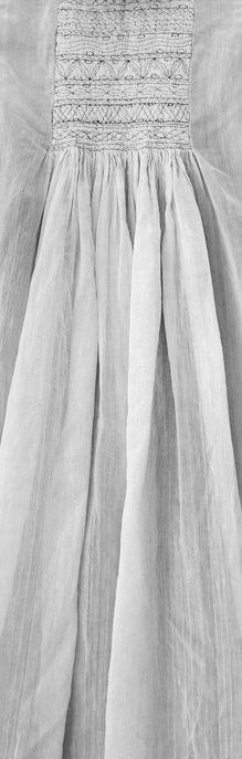 Smocking and pleats detail of Indian Injiri cotton dress